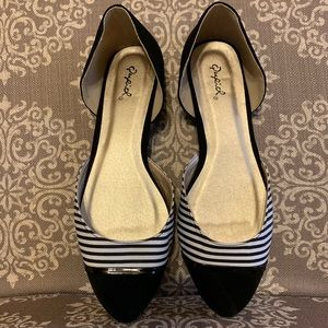 Qupid Striped d'Orsay Flats- Brand New/Never Worn